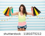 shopping girl with heavy bags.... | Shutterstock . vector #1181075212
