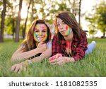 two young cheerful friends... | Shutterstock . vector #1181082535