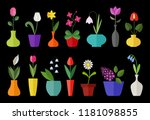 flower flat icon set isolated... | Shutterstock .eps vector #1181098855