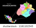 political map of mexico with... | Shutterstock .eps vector #1181102545