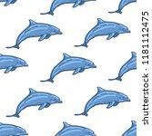 dolphin seamless pattern hand... | Shutterstock .eps vector #1181112475