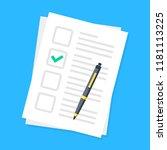 checklist and pen. application... | Shutterstock .eps vector #1181113225