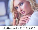 beautiful young woman portrait  ... | Shutterstock . vector #1181117512