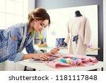 fashion designer woman working... | Shutterstock . vector #1181117848