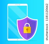 mobile security. smartphone and ... | Shutterstock .eps vector #1181120662