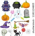cartoon halloween symbols... | Shutterstock . vector #1181124805