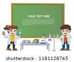 children doing science lab... | Shutterstock .eps vector #1181128765