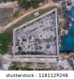top view of the stone walls of... | Shutterstock . vector #1181129248