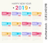 calendar design for 2019. set... | Shutterstock .eps vector #1181140198
