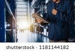 businessman manager using... | Shutterstock . vector #1181144182