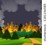 A Wildfire Forest Scene At...