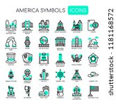 america symbols   thin line and ... | Shutterstock .eps vector #1181168572