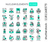 nuclear elements   thin line... | Shutterstock .eps vector #1181168575