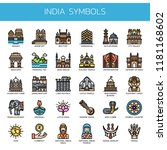 india symbols   thin line and... | Shutterstock .eps vector #1181168602