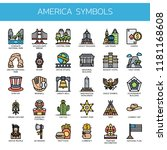 america symbols   thin line and ... | Shutterstock .eps vector #1181168608