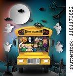 paper art style of halloween... | Shutterstock .eps vector #1181173852