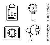 set of 4 linear vector icons...