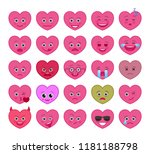 heart shaped funny emoticons...   Shutterstock .eps vector #1181188798
