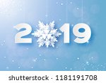 2019  merry christmas and happy ... | Shutterstock .eps vector #1181191708