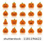 jack o lantern flat icons set... | Shutterstock .eps vector #1181196622