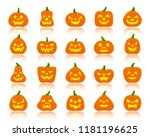 jack o lantern flat icons set... | Shutterstock .eps vector #1181196625