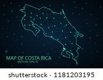 map costa rica. wire frame 3d... | Shutterstock .eps vector #1181203195