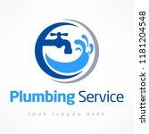 plumbing service logo in blue ... | Shutterstock .eps vector #1181204548