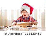 little boy with rolling pins... | Shutterstock . vector #118120462