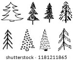 doodle hand drawn christmas... | Shutterstock .eps vector #1181211865