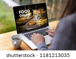 close up woman ordering food... | Shutterstock . vector #1181213035