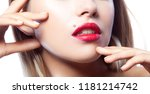 lips and hands. part of face of ... | Shutterstock . vector #1181214742