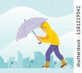 vector illustration boy walking ... | Shutterstock .eps vector #1181219542