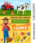 farmer on farm  cow and tractor ... | Shutterstock .eps vector #1181220295