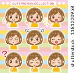 female facial expression... | Shutterstock .eps vector #1181220958