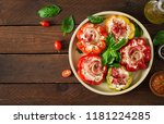 stuffed peppers with cottage... | Shutterstock . vector #1181224285