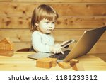 cute funny little baby boy with ... | Shutterstock . vector #1181233312