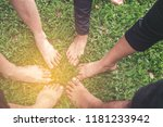 people join feet as a... | Shutterstock . vector #1181233942