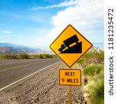 usa. death valley. sign at the... | Shutterstock . vector #1181235472