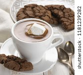 cup of hot chocolate with... | Shutterstock . vector #1181239282