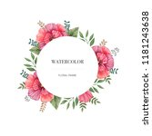 watercolor round frame of...   Shutterstock . vector #1181243638