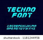 techno font set | Shutterstock .eps vector #1181244958