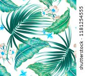 tropical palm leaves  exotic... | Shutterstock .eps vector #1181254555