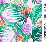 tropical floral vector seamless ... | Shutterstock .eps vector #1181254558