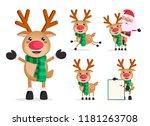reindeer vector character set.  ... | Shutterstock .eps vector #1181263708