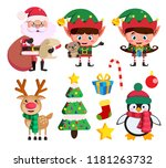 christmas elements and vector... | Shutterstock .eps vector #1181263732