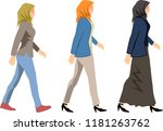 vector   muslim woman walk side ... | Shutterstock .eps vector #1181263762