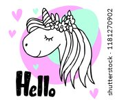 unicorn cute character with... | Shutterstock .eps vector #1181270902