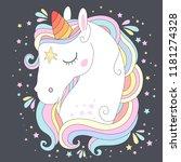 vector unicorn head. cute white ...   Shutterstock .eps vector #1181274328