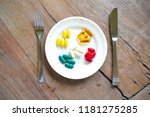 colorful vitamin pills served... | Shutterstock . vector #1181275285