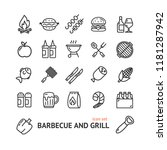 bbq signs black thin line icon... | Shutterstock .eps vector #1181287942